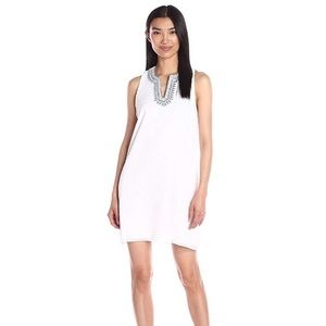 BCBGeneration White Dress with Blue Embroidery